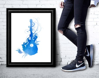 Instant Download -  Blue Watercolor Guitar Music Print Typography Word Art -  Poster Print Wall Art Home Decor