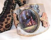 Thomas Kinkade Painter of Light Cottage Log Cabin Glass Cabochon Art Bracelet Wide Cuff Silver Gold