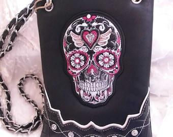 Sugar Skull Faux Leather Biker Messenger Crossbody Purse Tote Western