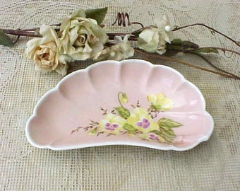 Lovely Antique Porcelain Peach Limoges Bone Dish with Hand Painted Pansies
