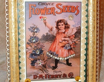 Embellished Framed Ferry Seed Garden Picture - Choice Flower Seeds from D.M. FERRY ~ Rhinestone Dress ~Jewels Rhinestones