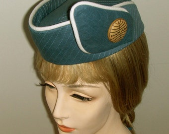 Pan Am Custom Made AIRLINE STEWARDESS HAT Flight Attendant - Tunis Blue