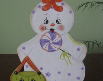 ghost, gingerbread, lollipop, basket, shelf sitter, halloween, home decor