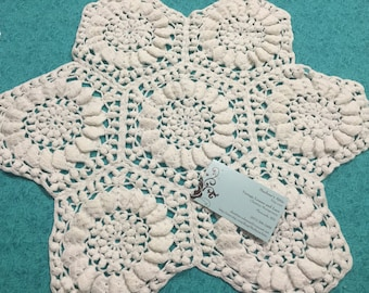 Vintage 17 inch White hand crochet doily for sewing, housewares, handbags, pillows, home decor by MarlenesAttic