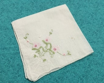 Vintage White hanky, hankerchief with embroidered floral design for Wedding hanky, bridal hanky, Valentines, Spring, Easter by MarlenesAttic