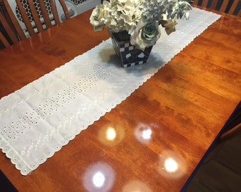 Vintage Ivory Eyelet table runner for housewares, home decor by MarlenesAttic