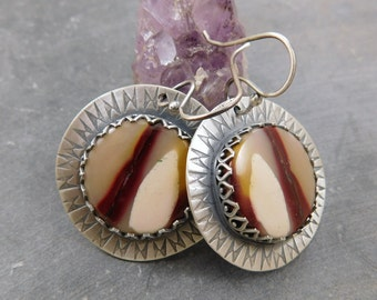 Australian Mookaite Jasper Dangle Earrings, Oxidized Sterling Silver, Hand Stamped Modern Boho Mookaite Earrings