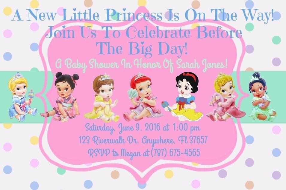 Disney Baby Shower Invitations Templates ~ Princess disney baby shower invitation download