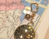 Not All Those Who Wander Are Lost Working Compass, Lidded Face Compass Key Chain, Travel Gift, Holiday Gift
