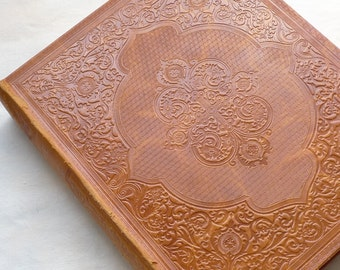 Wedding Photo Book, Unique Guestbook, Leather Scrapbook Keepsake, Vintage Wedding Journal, Extra large, Can be Personalized