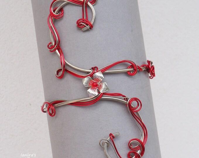 Red flower arm cuff ~ Copper wire