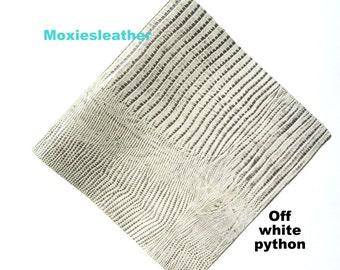 off white cream leather python print - soft leather python print - leather embossed print