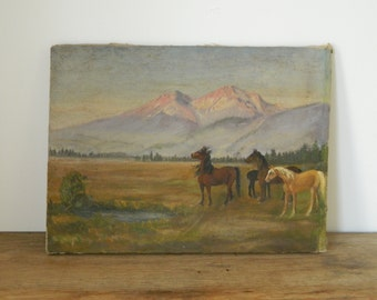 Vintage Oil Painting. Mountain Landscape with Horses. Rustic Decor. Primitive. Cabin. Cottage. Farmhouse.