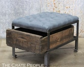 French Blue Tufted Ottoman in Belgian Linen -- Custom Crate Furniture with Vintage Wood Crates