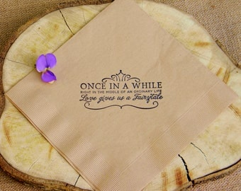 Fairytale Love Light Burlap Paper Wedding Dinner Napkins Once in a While Crown Stamped - Set of 50