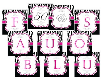 30/40/50/60th Birthday Banner-50 & Fabulous Birthday Banner-Fabulous Banner-DIGITAL DOWNLOAD