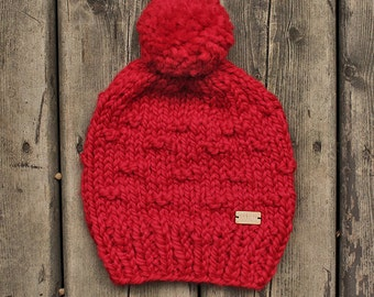 The Glasgow Hat - Chunky slouchy knit hat in bright pop red
