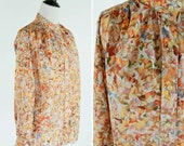 Clearance Vintage 1970's Orange Floral Long Sleeve Blouse - 70's button up top - ladies size medium to small