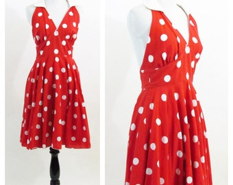 Vintage 1980's Red and White Polka Dot Dress- Rockabilly Bombshell Swing Dress- Marilyn Monroe 50's Style  Halter Dress- size small