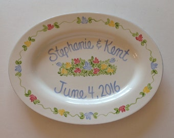 Floral Oval Personalized Wedding Platter