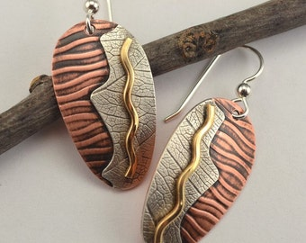 Mixed Metal Earrings - Textured Copper  Earrings - Metal Earrings