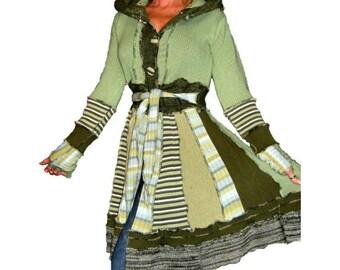 Upcycled Sweater Coat, OOAK Woodland Sweater, Upcycled Clothing, Elf Hood Coat, Eco Upcycled Sweater, Woodland Pixie Sweater Coat, Faerie