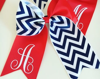 Cheer Bows...Initial Hairbows...Cheerleader Hairbows...Handmade Bows...Cheer...Navy and White Chevron