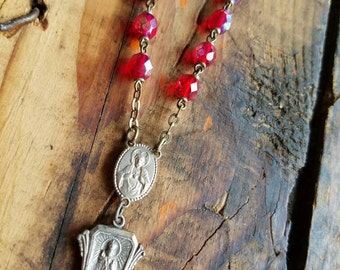 Repurposed Vintage AB Red Faceted Glass Rosary Beads Necklace Miraculous Infant of Prague Sacred Heart of Jesus Our Lady of Mt Carmel OOAK