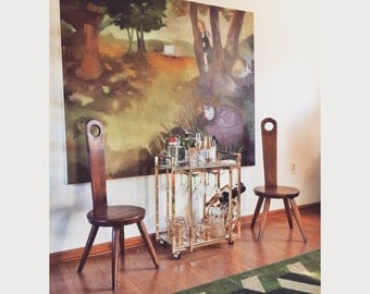 Mid Century William Fetner Keyhole Chairs (pair)
