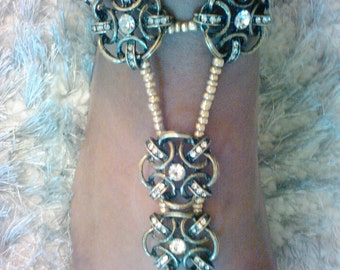Bronze Beaded Barefoot Sandals, Foot Jewelry, Anklet, Footless Sandal