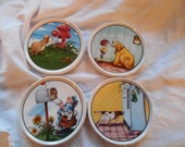 four ceramic coasters Gary patterson Clay designs funny cute