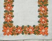 ULLAS COLLECTION: Vintage Swedish small runner / napkin fabric printed by well known Swedish designer Ulla Swenson. Table linens