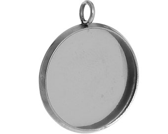 5pc Stainless Steel Silver Tone Round Cabochon Settings- Fits 16mm - 22x18mm- Jewelry Finding Making Supplies, Necklace, Ships from USA -S61