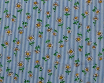 Marcus Brothers Fabric, Cotton Quilting Fabric, Daisy Fabric, Stripe Fabric Remnant, Cotton Floral Fabric - Nearly 1 Yard - CFL1806