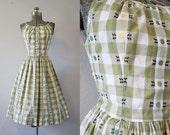 1950's Green Sundress / Size Medium