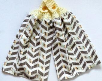 Herringbone Crochet Top Kitchen Hand Towel Set of 2