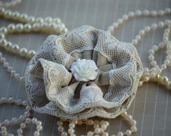 "3"" Large Fabric Flowers - Vintage Brown & Mint Lace Fabric Flower - Lace Beaded Flower"