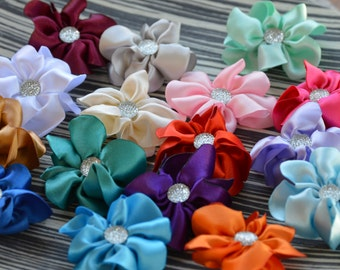 "Satin Ribbon Flowers, 2"" Satin Fabric Flowers, Satin Flower,  Satin Flower, Wholesale Flowers, Satin Flowers, Headband"