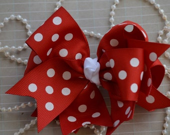 "Red & White Polk a Dots Hair Bow,  5"" Hair Bow, Pinwheel Hair Bow, Spike Hair Bow,  Hair Boutique Bow, Minnie Mouse Bow"