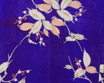 Women's Royal Purple Silk Kimono  (WKPL1-TC7 2516 BK)
