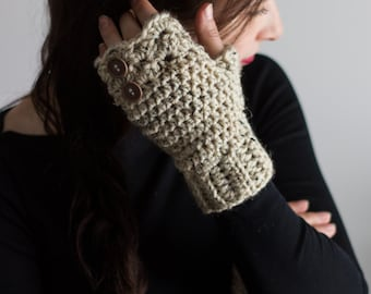 fingerless gloves, tan fingerless gloves, crochet fingerless gloves, womens gloves, texting gloves, winter gloves, arm warmers