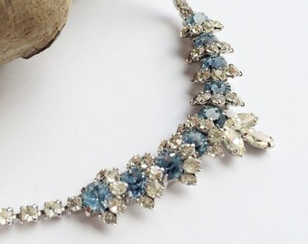 Vintage Rhinestone Necklace, Blue Rhinestone Collar, Retro Jewelry