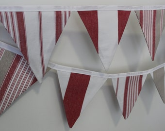 SALE - red, taupe & white stripe nautical fabric bunting flag banner - 12 flags