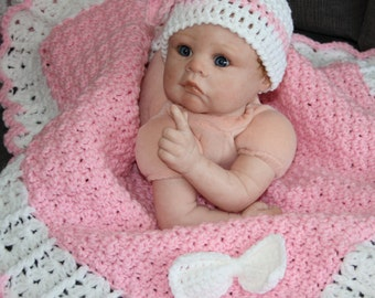 Girls Blanket and Hat Set - Stroller Blanket and Hat, Carseat Blanket - Girl's Beanie - Ready to Ship!