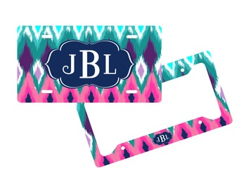 Personalized License Plate Frame - Ikat - Monogram Vanity License Plate Frame