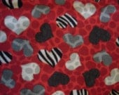 Red Hot Hearts - Fleece Blanket with Crocheted edge