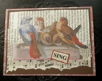 "ALL OCCASION CARD Blank Inside Victorian Birds Have Gathered to ""Sing"""