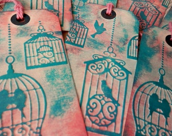 3 LARGE TAGS Embossed BIRDCAGE Design Pink Peach Aqua Blue