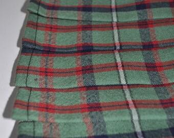 Baby kilt, 6-12m, Shaw Green tartan, 8oz Pure New Wool