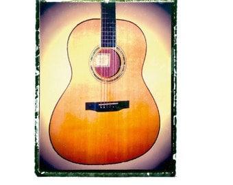 Acoustic guitar art print / music gift / rock n roll art / music room decor / guitar gift / man cave art